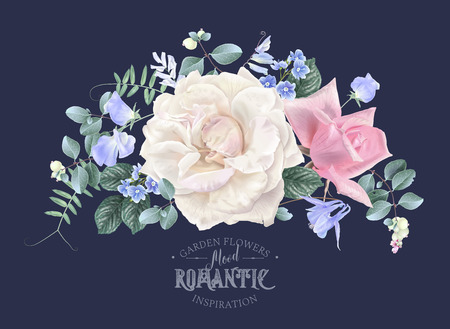 Vector vintage floral composition with garden roses and sweet pea flowers on blue. Romantic design for natural cosmetics, perfume, women products. Can be used as greeting card or wedding invitation Çizim