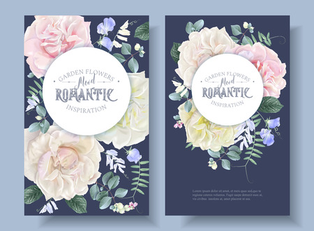Vector vintage floral round banners with garden roses and sweet pea flowers on blue. Romantic design for natural cosmetics, perfume, women products. Can be used as greeting card or wedding invitation Stock Vector - 110532016
