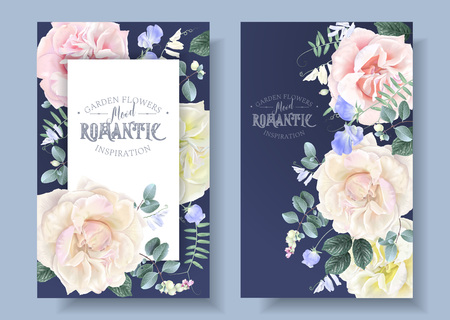 Vector vintage floral banners with garden roses and sweet pea flowers on blue. Romantic design for natural cosmetics, perfume, women products. Can be used as greeting card or wedding invitation Иллюстрация