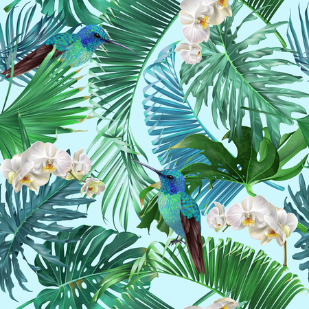 Vector tropical seamless pattern with orchid flowers and hummingbird on blue. Exotic botanical design for cosmetics, spa, perfume, health care products, greeting, wedding background, wrapping paper