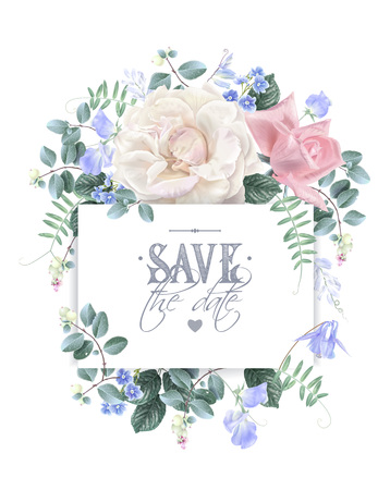 Vector vintage wedding invitation card with garden roses and sweet pea flowers isolated on white. Save the date floral design for wedding seremony. Can be used as birthday greeting card Ilustração