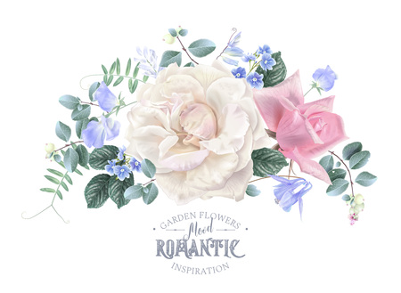 Vector Weinleseblumenkomposition mit Gartenrosen und süßen Erbsenblumen auf Weiß. Romantisches Design für Naturkosmetik, Parfüm, Damenprodukte. Kann als Grußkarte oder Hochzeitseinladung verwendet werden Vektorgrafik