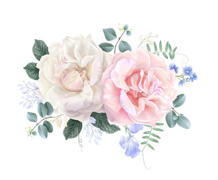 Vector vintage floral composition with garden roses and sweet pea flowers on white. Romantic design for natural cosmetics, perfume, women products. Can be used as greeting card or wedding invitation