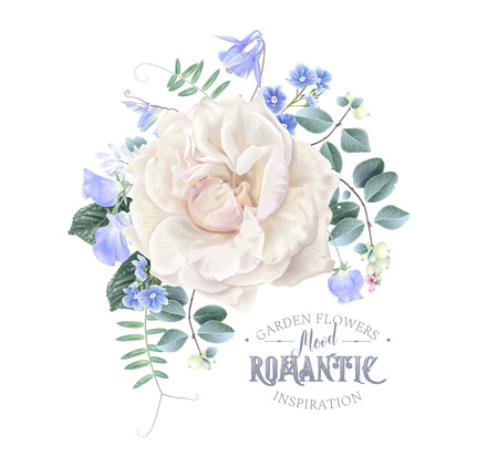 Vector vintage composition with garden rose, forget me not and sweet pea flowers on white. Floral design for natural cosmetics, perfume, women products. Best for wedding invitation, greeting card Stock Vector - 110513264