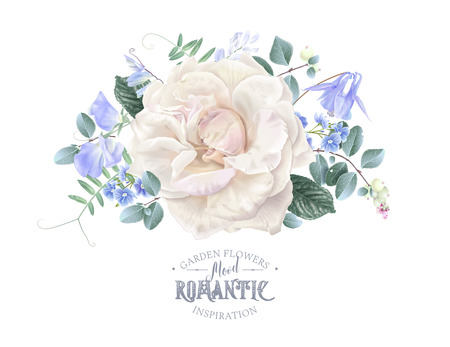 Vector vintage composition with garden rose, forget me not and sweet pea flowers on white. Floral design for natural cosmetics, perfume, women products. Best for wedding invitation, greeting card