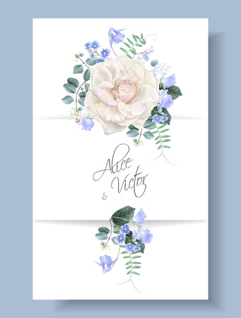 Vector vintage wedding invitation card with white garden rose and sweet pea flowers on white. Save the date floral design for wedding seremony. Can be used as birthday greeting card Çizim
