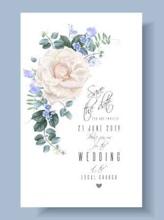 Vector vintage wedding invitation card with white garden rose and sweet pea flowers on white. Save the date floral design for wedding seremony. Can be used as birthday greeting card Illustration