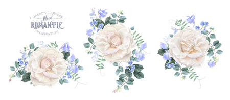 Vector vintage composition set with garden rose, forget me not and sweet pea flowers on white. Floral design for natural cosmetics, perfume, women products. Best for wedding invitation, greeting card Çizim