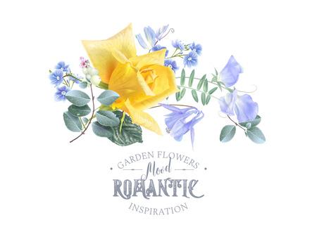 Vector vintage floral banner with garden rose