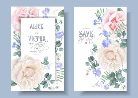 Vector vintage wedding invitation cards with garden roses and sweet pea flowers on white. Save the date floral design for wedding seremony. Can be used as birthday greeting card Ilustração