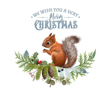 Banner di Natale vettoriale con rami e scoiattolo