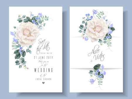 Vector vintage floral wedding cards with roses