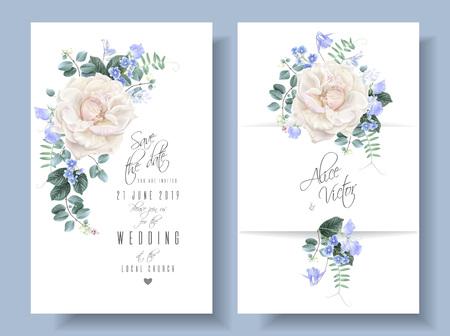 Vector vintage floral wedding cards with roses Reklamní fotografie - 123121966
