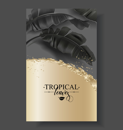 Tropic banana leaf black and gold banner
