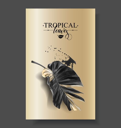 Tropic banana leaf black and gold banners