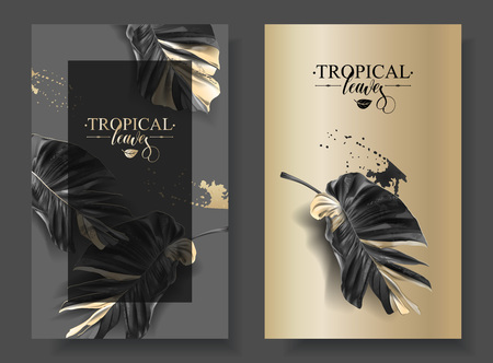 Tropic alocasia leaf black and gold banner