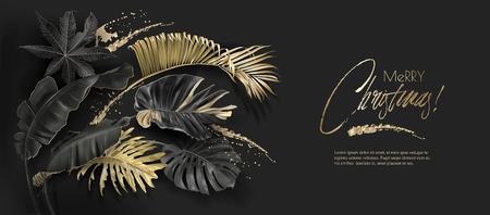 Tarjeta de navidad de botánica de oro negro de hojas tropicales