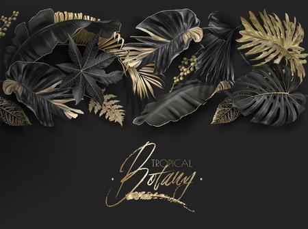 Feuilles tropicales bannière botanique noir et or Banque d'images