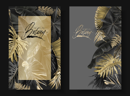 Vector vertical banners with black and gold tropical leaves on dark background. Luxury exotic botanical design for cosmetics, spa, perfume, aroma, beauty salon. Best as wedding invitation card Stock Illustratie