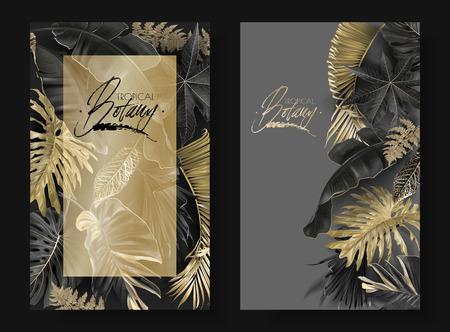 Vector vertikale Banner mit schwarzen und goldenen tropischen Blättern auf dunklem Hintergrund. Luxuriöses exotisches botanisches Design für Kosmetik, Spa, Parfüm, Aroma, Schönheitssalon. Am besten als Hochzeitseinladungskarte Vektorgrafik