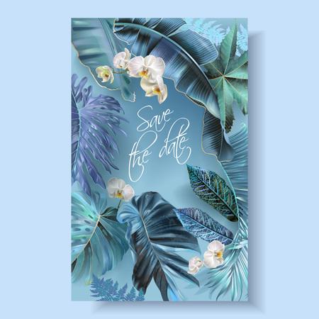Carta di invito a nozze verticale vettoriale con foglie tropicali blu, turchesi, viola e fiori di orchidea. Salva il design botanico della data per la cerimonia di nozze. Può essere utilizzato per cosmetici, salone di bellezza