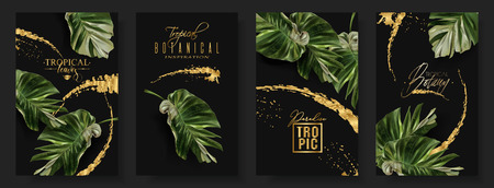 Vector tropical alocasia leaf banner set on black background. Exotic botany for cosmetics, spa, perfume, health care products, aroma, tourist agency. Best as wedding invitation. With place for text