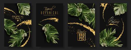 Vektor tropische Alocasia-Blatt-Banner auf schwarzem Hintergrund. Exotische Botanik für Kosmetik, Spa, Parfüm, Gesundheitsprodukte, Aroma, Reisebüro. Am besten als Hochzeitseinladung. Mit Platz für Text Vektorgrafik