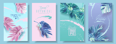 Vector tropical leaf banner set on bright background. Trending colors modern botany design for cosmetics, spa, perfume, health care products, aroma, tourist agency, summer party Illustration