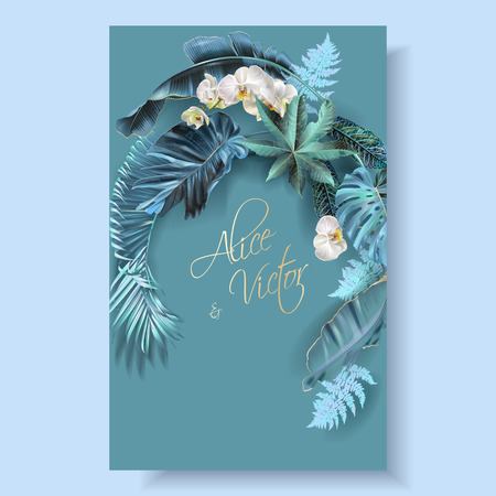 Vector vertical wedding invitation card with blue, turquoise, purple tropical leaves and orchid flowers. Fantastic botany design for wedding ceremony. Can be used for cosmetics, beauty salon Çizim