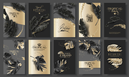 Tropic leaf black and gold big banner set