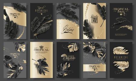 Tropic leaf black and gold big banner set Фото со стока - 123121988