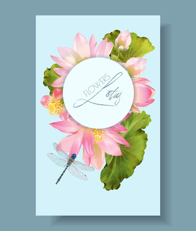 Lotus flower and dragonfly vertical botany banner