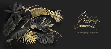 Vector horizontal banner with tropical leaves and gold splashes on dark background. Luxury exotic botanical design for cosmetics, spa, perfume, aroma, beauty salon. Best as wedding invitation card Çizim