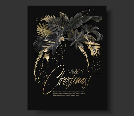 Tropical leaves black gold botany christmas card