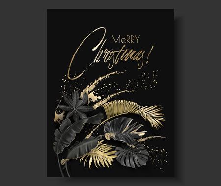 Banner vertical de vector con hojas tropicales y salpicaduras de oro sobre fondo oscuro. Diseño botánico exótico para tarjetas de felicitación navideñas, invitaciones a fiestas, ventas navideñas, carteles, páginas web, embalajes