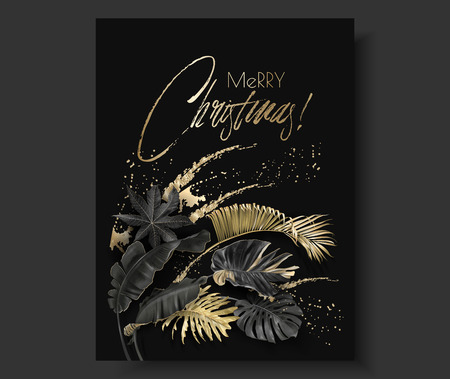Vector vertical banner with tropical leaves and gold splashes on dark background. Exotic botanical design for Christmas greeting card, party invitation, holiday sales, poster, web page, packaging Vectores