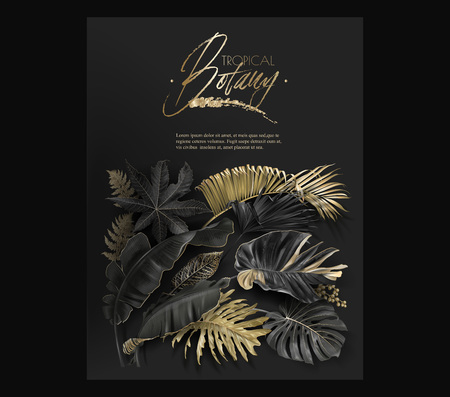 Vector vertical banner with black and gold tropical leaves on dark background. Luxury exotic botanical design for cosmetics, spa, perfume, aroma, beauty salon. Best as wedding invitation card