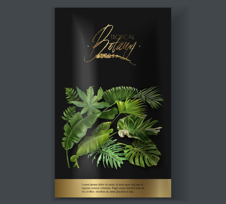Vector vertical banner with green tropical leaves on black background. Luxury exotic botanical design for cosmetics, spa, perfume, aroma, beauty salon. Best for packaging design