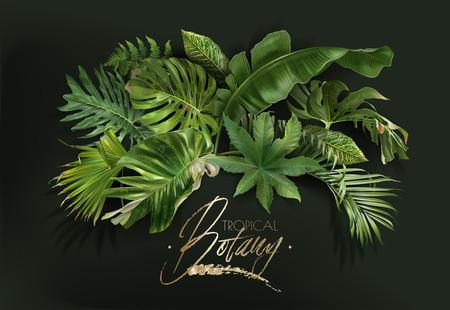 Bannière de vecteur avec des feuilles tropicales vertes sur fond vert foncé. Design botanique exotique de luxe pour cosmétiques, spa, parfum, arôme, salon de beauté, agence de voyage, fleuriste
