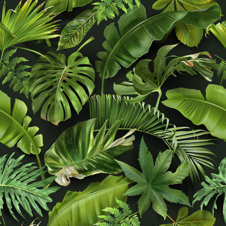 Vector seamless pattern with green tropical leaves on dark green background. Exotic botanical background design for cosmetics, spa, textile, hawaiian style shirt. Best as wrapping paper, wallpaper