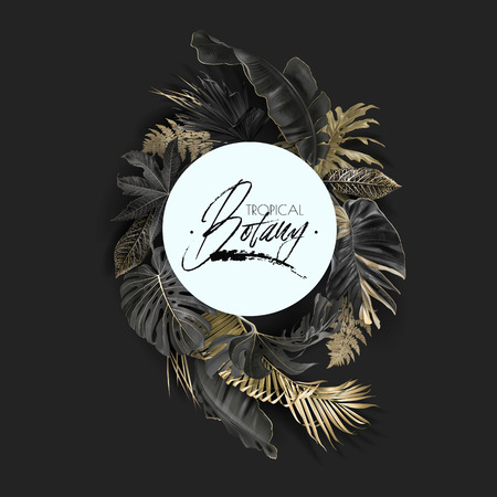 Vector round banner with gold and black tropical leaves on dark background. Luxury exotic botanical design for cosmetics, spa, perfume, aroma, beauty salon. Best as wedding invitation card