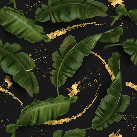 Vector tropical seamless pattern with green banana leaves and gold splashes on black background. Exotic botanical background design for cosmetics, spa, textile. Best as wrapping paper, wallpaper