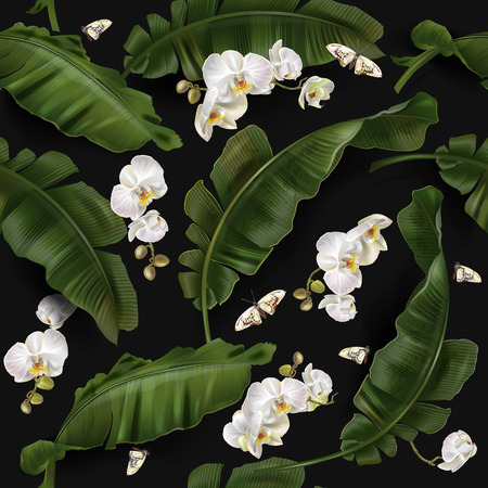 Vector tropical seamless pattern with green banana leaves and white orchid flowers on black background. Exotic botanical background design for cosmetics, spa, textile. Best as wrapping, wallpaper