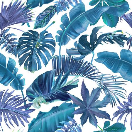 Reticolo senza giunte con foglie tropicali blu e viola su sfondo bianco. Sfondo botanico esotico per cosmetici, spa, tessuti, camicia hawaiana. Ideale come carta da regalo, carta da parati Vettoriali