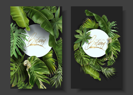 Vector round banners with green tropical leaves on black background. Exotic botanical design for cosmetics, spa, perfume, beauty salon, travel agency, florist shop. Best as wedding invitation cards Çizim