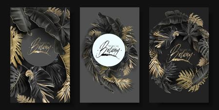 Bandiere rotonde di vettore con foglie tropicali oro e nere su sfondo scuro. Design botanico esotico di lusso per cosmetici, spa, profumi, aromi, salone di bellezza. Ideale come biglietto d'invito per il matrimonio Vettoriali