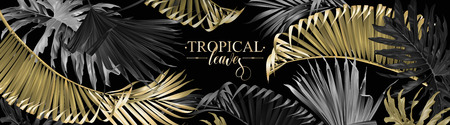 Vector horizontal banner with cold, silver and black tropical leaves on dark background. Luxury exotic botanical design for cosmetics, spa, perfume, health care products, wedding. Best as web banner Çizim