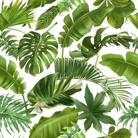 Vector seamless pattern with green tropical leaves on white background. Exotic botanical background design for cosmetics, spa, textile, hawaiian style shirt. Best as wrapping paper, wallpaper Çizim