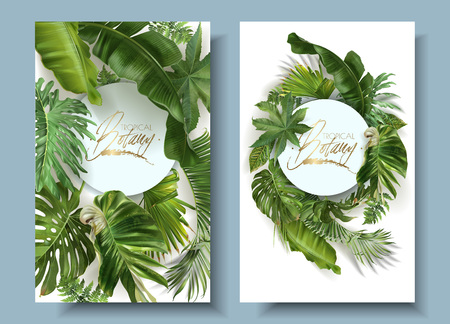 Vector round banners with green tropical leaves on white background. Exotic botanical design for cosmetics, spa, perfume, beauty salon, travel agency, florist shop. Best as wedding invitation cards
