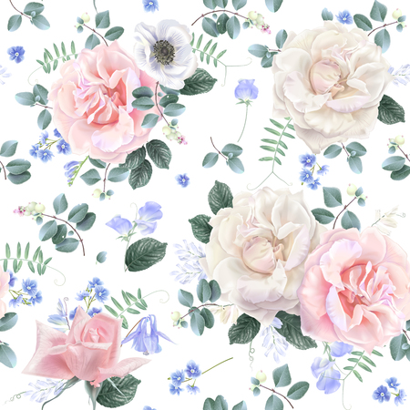 Vector botanical seamless pattern with white and pink rose and blue flowers on white. Floral background for natural cosmetics, perfume, women products, wedding invitation, wrapping paper, fabric print